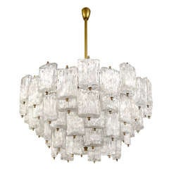 Large Venini Brass and Textured Glass Chandelier, Five Available