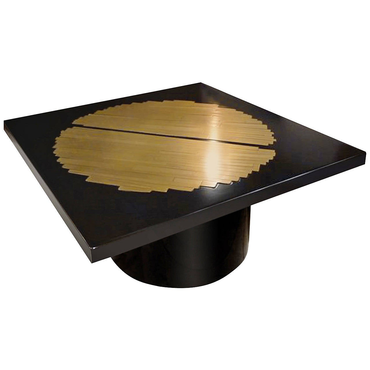 Black resin and etched bronze coffee table signed by roger vanhevel at 1stdibs Bronze coffee tables