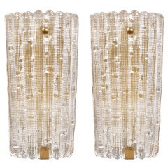 Pair of Carl Fagerlund for Orrefors Glass Sconces / 5 Pair Available