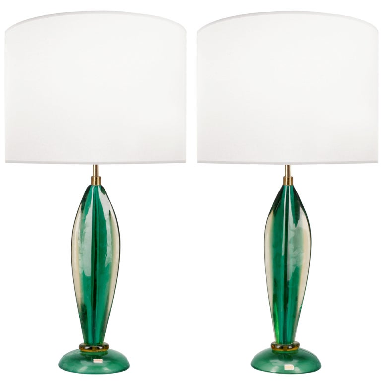 xxx pair of seguso green glass lamps. Black Bedroom Furniture Sets. Home Design Ideas