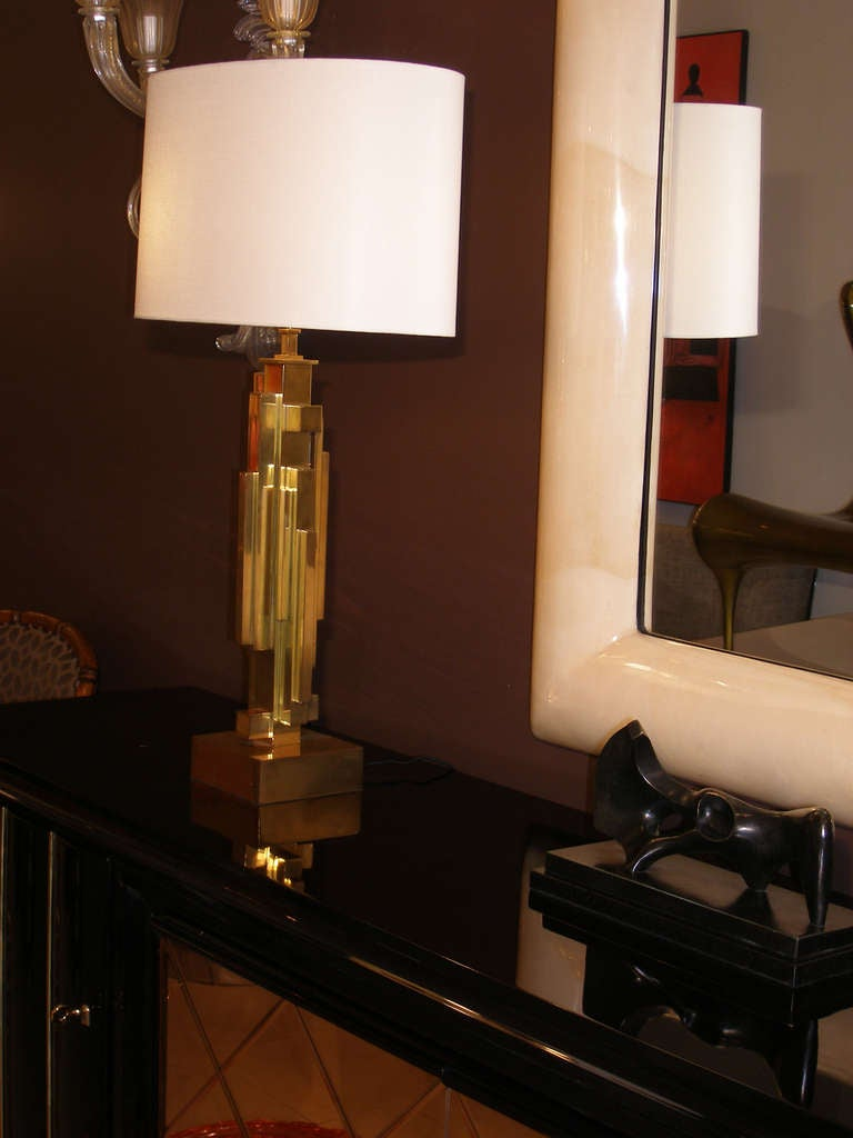 20th Century Pair of Maison Jansen Brass Skyscraper Lamps For Sale