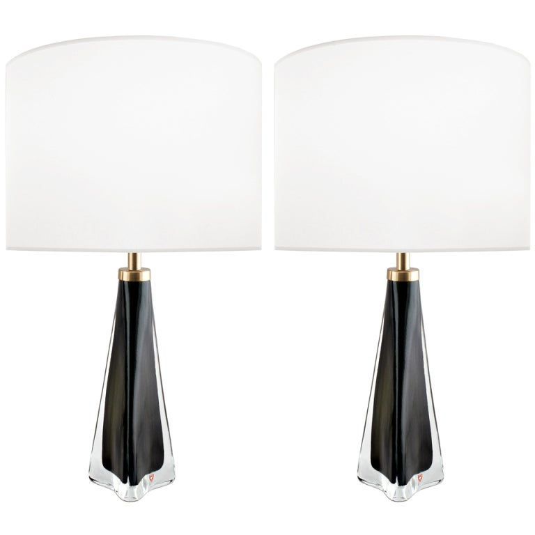 Pair of Nils Landberg for Orrefors Black and Clear Glass Lamps