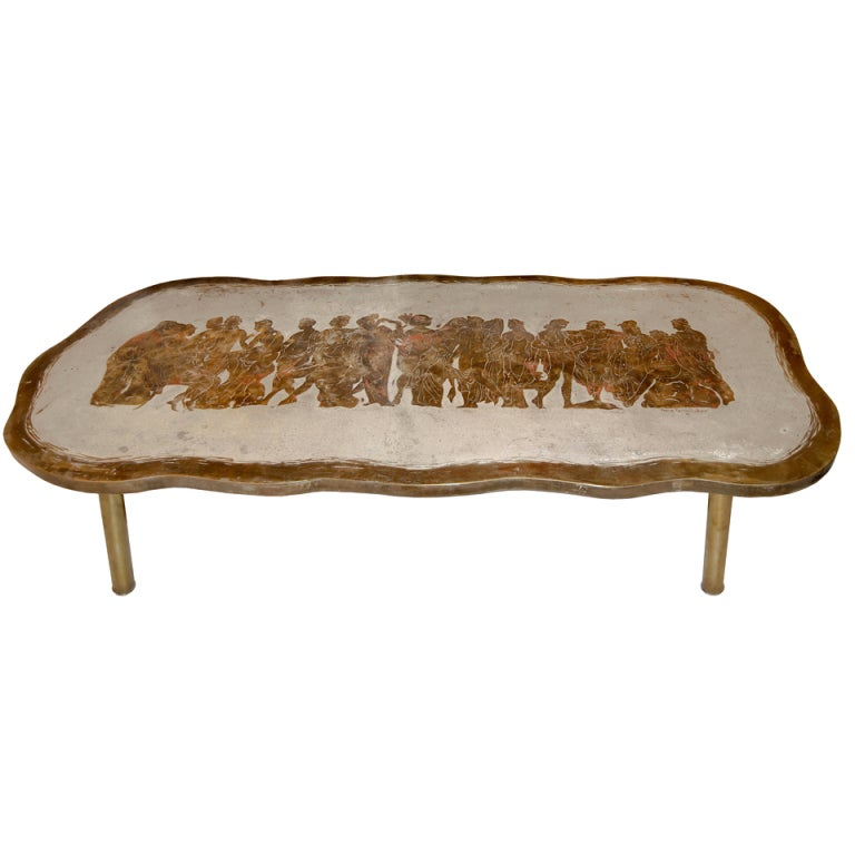 Philip And Kelvin LaVerne Romanesque Bronze Coffee Table 1
