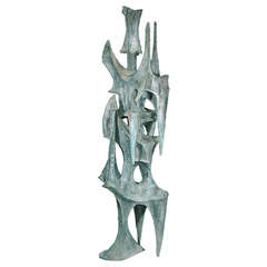 "Large Abstract Patinated Bronze Sculpture ""Conquistador"" by BJ Las Ponas"