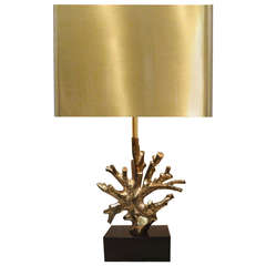 Signed Charles Bronze Coral Lamp