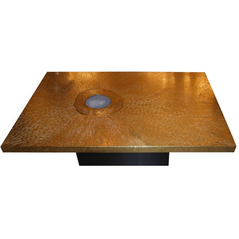 Signed Lova Creations Etched Bronze & Agate Coffee Table 1 - Signed Lova Creations Etched Bronze And Agate Coffee Table At 1stdibs