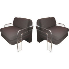 Pair of Vladimir Kagan Upholstered Club Chairs with Lucite Arms