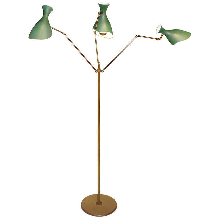 italian 3 arm brass floor lamp by arredoluce at 1stdibs. Black Bedroom Furniture Sets. Home Design Ideas