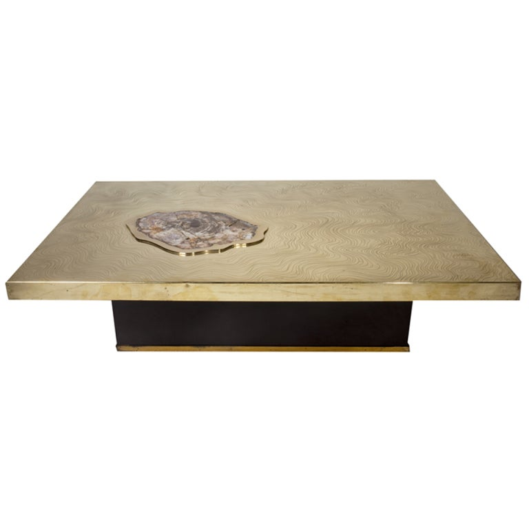 Signed Willy Daro Etched Bronze and Petrified Wood Coffee Table