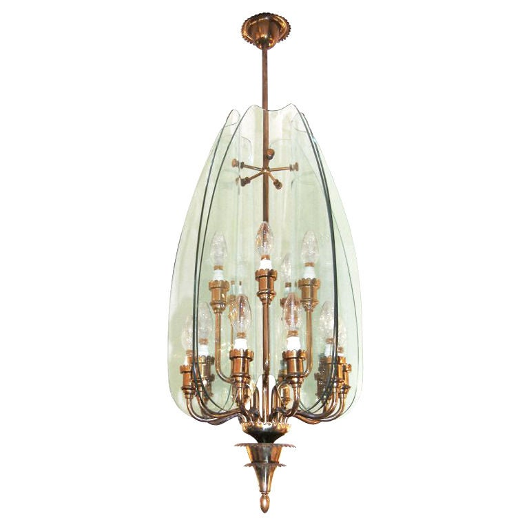 Pietro Chiesa for Fontana Arte Glass and Brass Chandelier