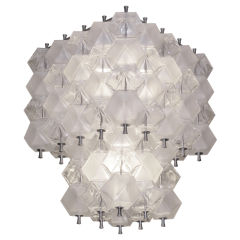 Two-Tiered Murano Glass and Nickel Chandelier