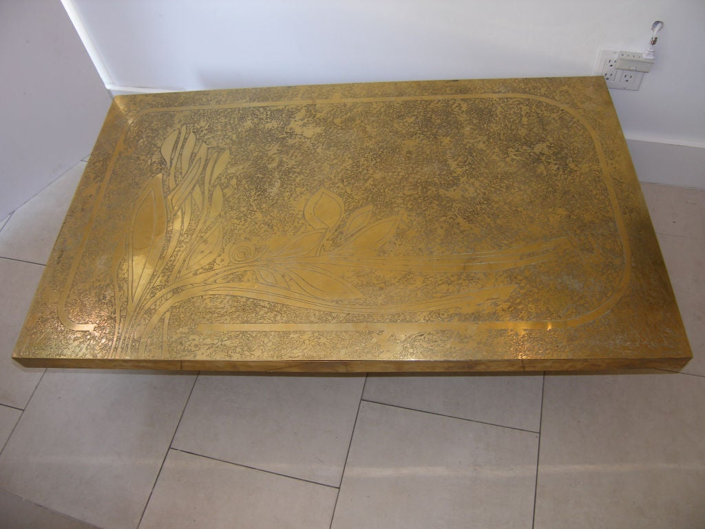 Signed A Vouneuil Etched Bronze Coffee Table At 1stdibs
