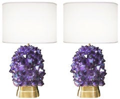 Pair of Amethyst and Bronze Lamps