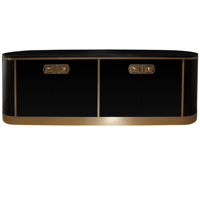 Mastercraft Oval Black Lacquer and Brass Credenza at 1stdibs