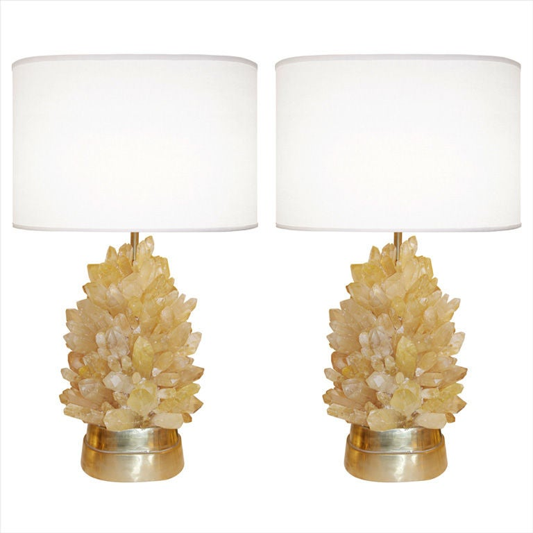 pair of amber rock crystal lamps 1