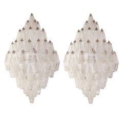 Pair of Venini Clear Glass Polyhedral Sconces