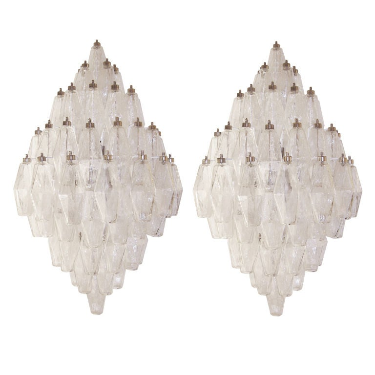 Smoky Pearl Furniture Painting Technique Captiva: Pair Of Venini Clear Glass Polyhedral Sconces At 1stdibs