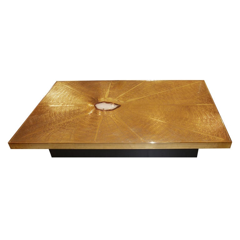 Agate Marble And Brass Round Cocktail Table At 1stdibs: Signed George Mathias Etched Bronze And Agate Coffee Table