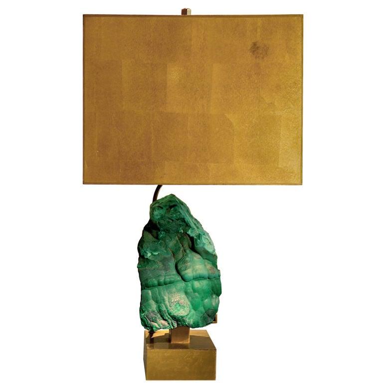 Willy Daro Bronze and Malachite Lamp