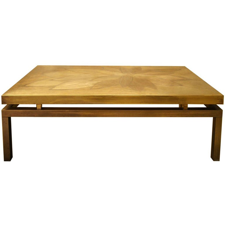 Willy daro etched bronze coffee table at 1stdibs Bronze coffee tables