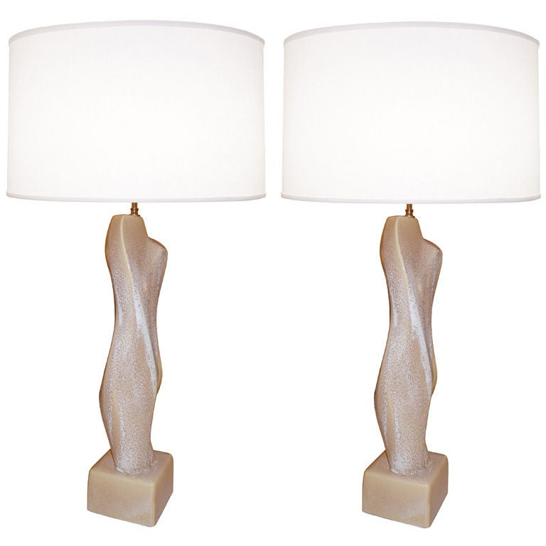 Pair of Abstract Figural Ceramic Lamps