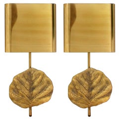 Pair of Signed Maison Charles Bronze Leaf Sconces
