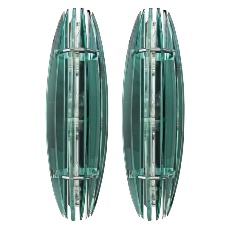 Large Glass Wall Lights : Pair of Large Italian Glass Sconces at 1stdibs