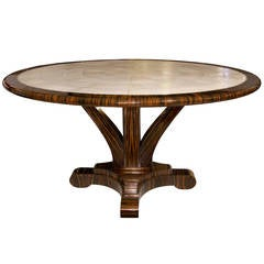 Delfine Macassar Ebony and Shagreen Table with Brass Detail