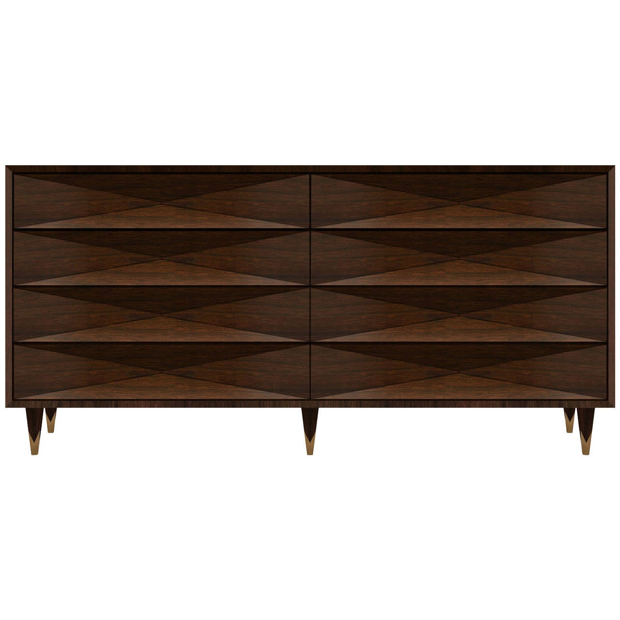 Faceted Walnut Dresser or Credenza