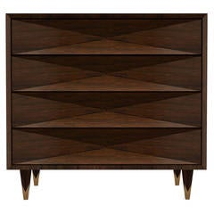 Faceted Walnut Dresser
