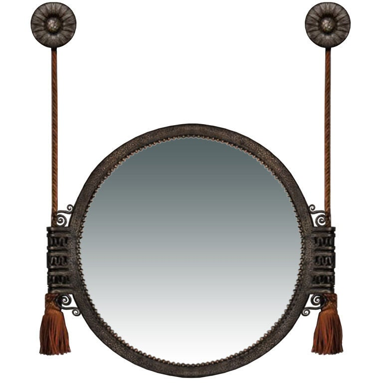 Hammered wrought iron mirror by paul kiss at 1stdibs for Wrought iron mirror