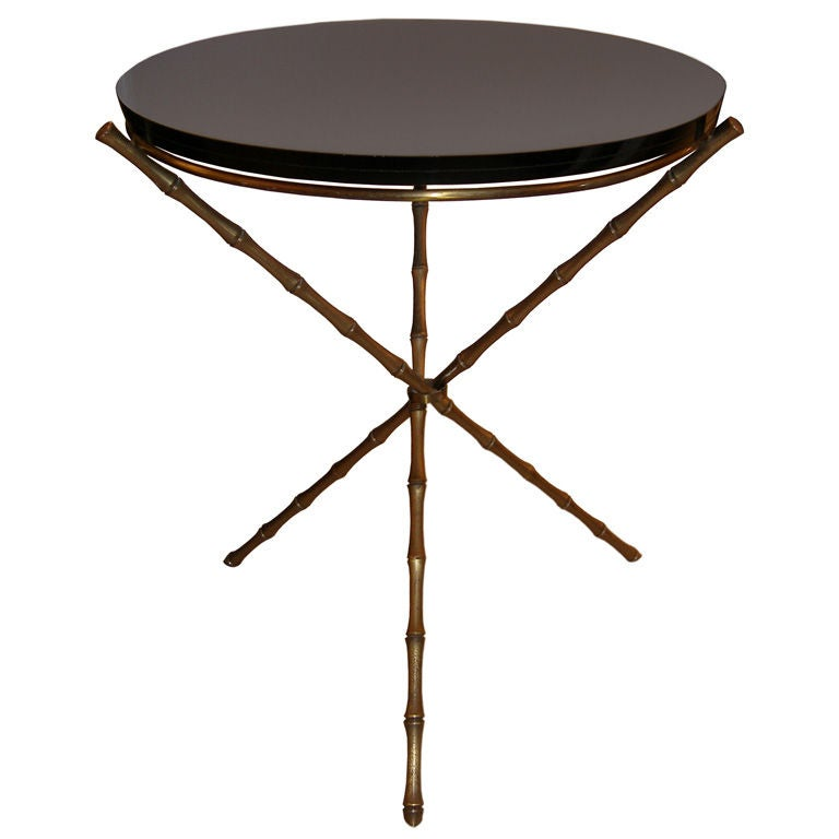 French brass bamboo side table with black glass top at 1stdibs