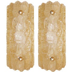 Pair of Carl Fagerlund for Orrefors Amber Glass Sconces