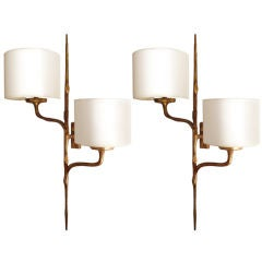 Pair of Gilt Bronze Sconces by Felix Agostini