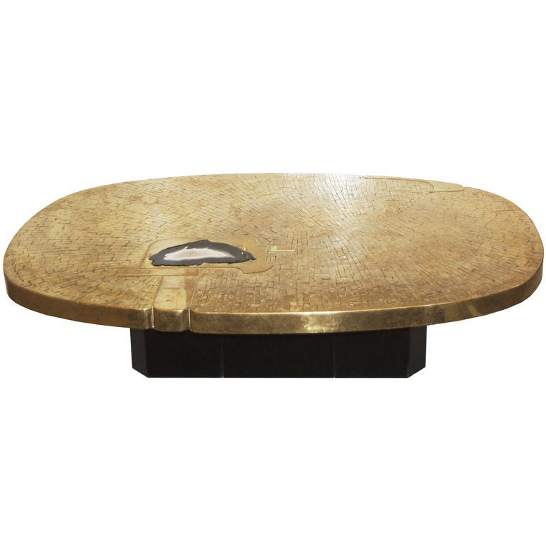 Etched bronze and agate oval coffee table by fernand dresse at 1stdibs Bronze coffee tables
