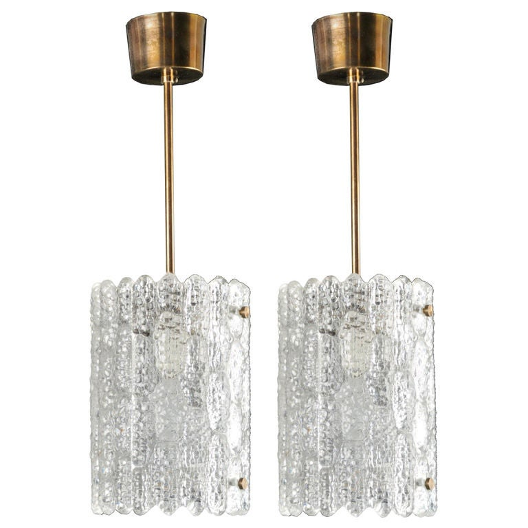 Pair of Carl Fagerlund for Orrefors Glass Pendant Lights