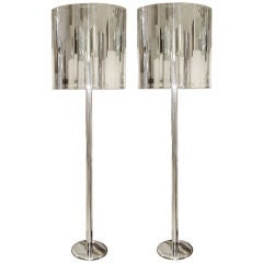 Pair of Stainless Steel Floor Lamps