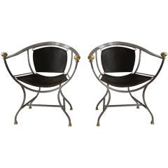 Pair of Maison Jansen Steel and Bronze Chairs