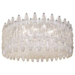 Venini Clear Glass Polyhedral Chandelier