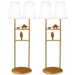 Pair of gilt bronze table lamps by Pierre Casenove
