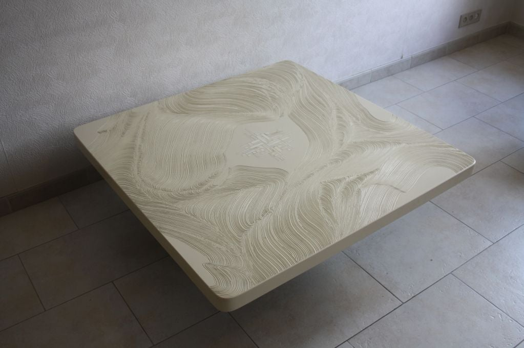 Cast Resin With Bone Inlay Coffee Table By Jean Claude Dresse Image 2
