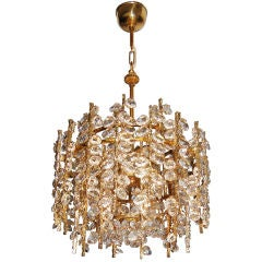 Sciolari Gilt Brass and Crystal Chandelier