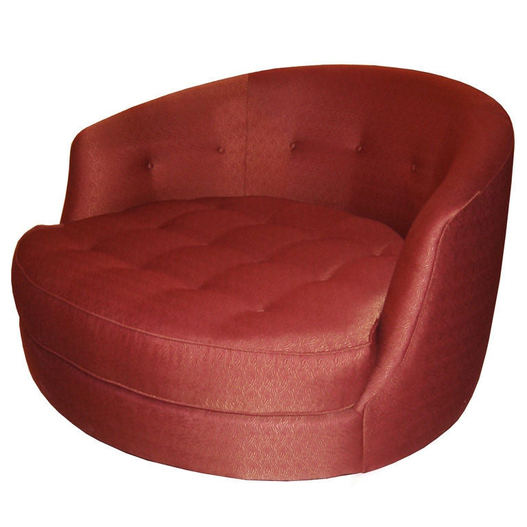 Tufted Swivel Lounge Chair by Milo Baughman at 1stdibs