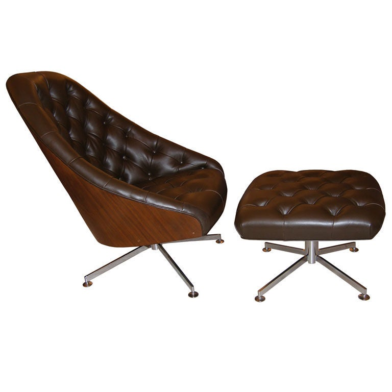 milo baughman walnut and leather swivel chair and ottoman at 1stdibs
