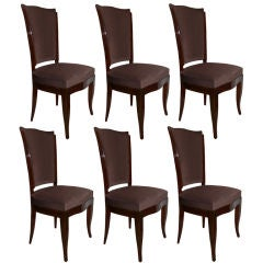 Set of Six French High Back Walnut Dining Chairs