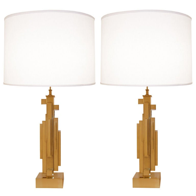 Pair of Maison Jansen Brass Skyscraper Lamps For Sale