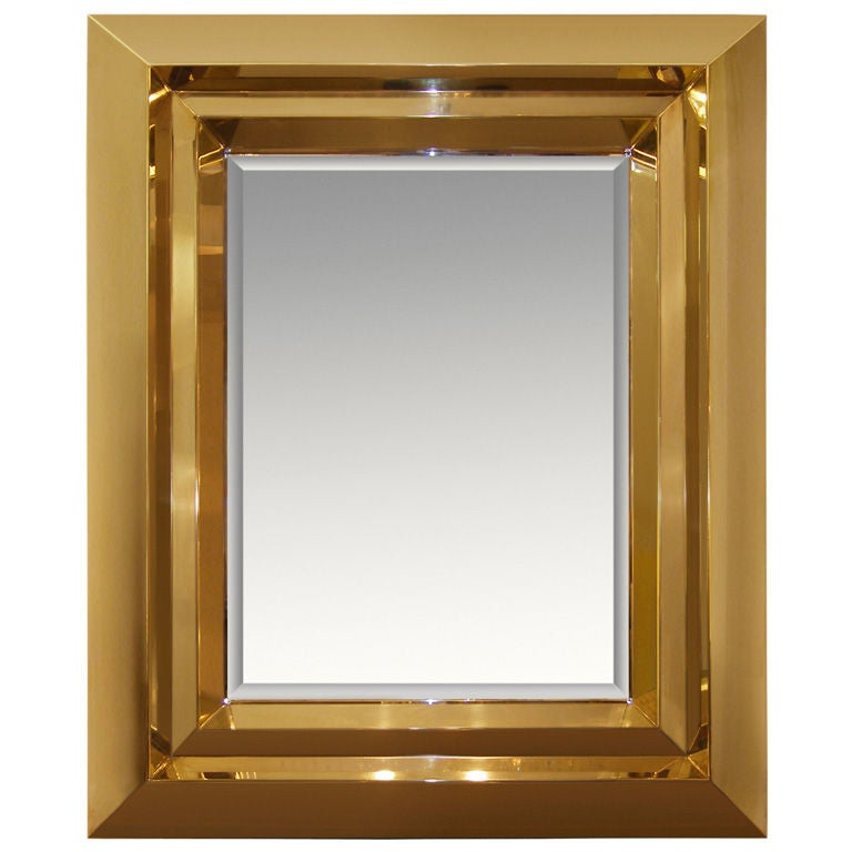 custom brass beveled mirror for sale at 1stdibs