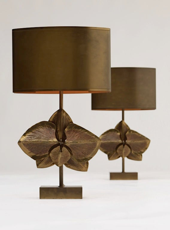 Late 20th Century Pair of Signed Maison Charles Bronze Lamps For Sale