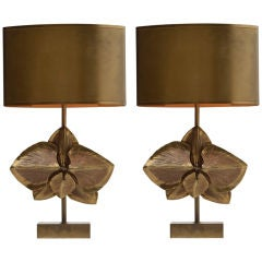 Pair of Signed Maison Charles Bronze Lamps