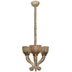 Early Barovier Smoky Topaz 3 Arm Chandelier